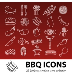 Barbecue outline icons vector