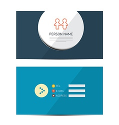 Blue paper business card template vector