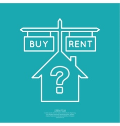Concept of choice between buying and tenancy vector
