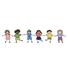 Happy children holding for hands vector