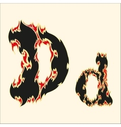 Fiery font letter d on white vector