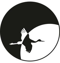 silhouette flying crane vector image