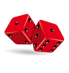 Rolling red dice vector