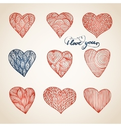 Set of hand drawn hearts vector