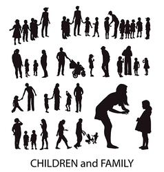 Set of silhouettes children and families vector