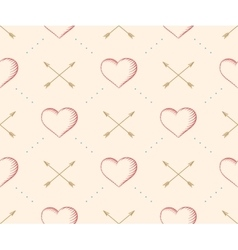 Seamless pattern with heart and arrow in vintage vector