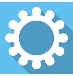 Gear flat square icon with long shadow vector