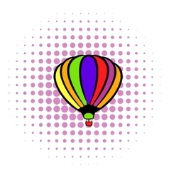 Bright air balloon icon comics style vector