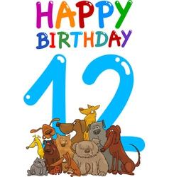 Twelfth birthday anniversary card vector
