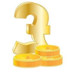 Sign pound sterling and coins vector