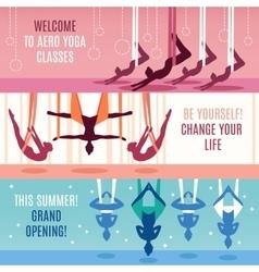 Aero yoga horizontal banner set vector