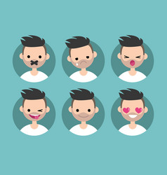 Bearded young man profile pics set of flat vector
