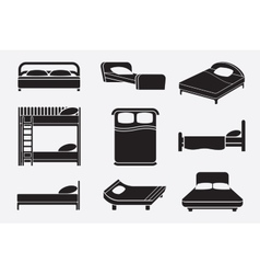 Bed icons set vector image vector image