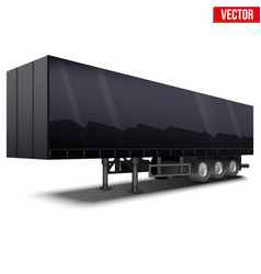 Blank black parked semi trailer vector