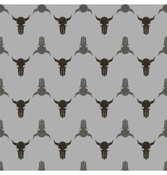 Bull skull silhouette seamless pattern vector