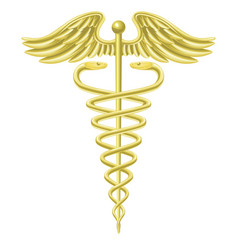 caduceus gold medical symbol vector image