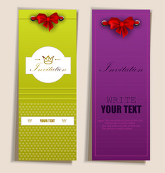 Card notes with ribbons vector image