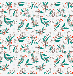 christmas seamless pattern with mistletoe vector image