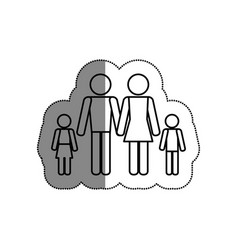 family silhouette isolated icon vector image vector image