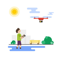 Flat boy playing with flying drone in the park vector