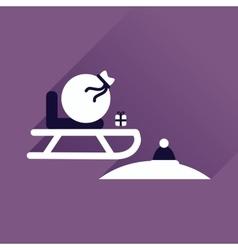 Flat icon with long shadow santas sleigh vector