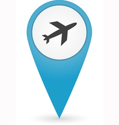 GPS marker with airport icon vector image