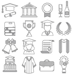 Graduation linear icons set vector