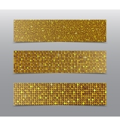 Horizontal set gold sequins banners glitter vector