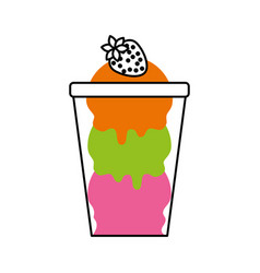 ice cream with strawberry in glass cup vector image