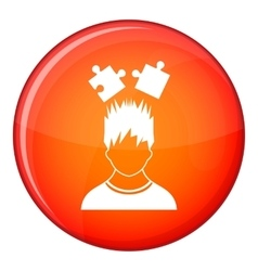 Man with puzzles over head icon flat style vector
