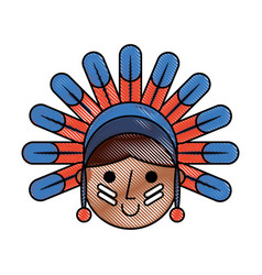 native american character icon vector image vector image