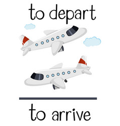 Opposite wordcard for depart and arrive vector