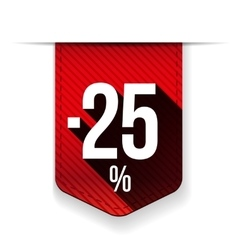Sale twenty five percent off banner red ribon vector image vector image