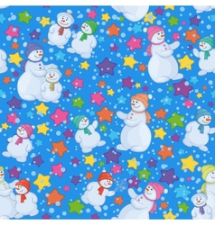 Seamless Christmas background with snowmen vector image vector image