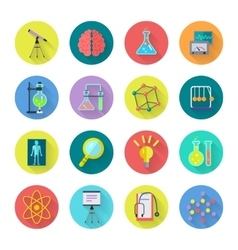 Set of Scientific Icons in Flat Design vector image