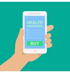 Smartphone with a form of health insurance vector
