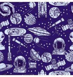 Space sketch seamless pattern vector image vector image