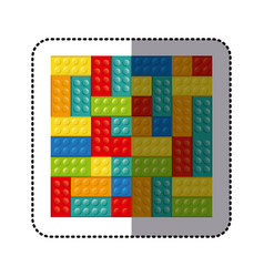 Sticker colorful building toy bricks lego icon toy vector