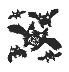 trick or treat and doodle bats vector image