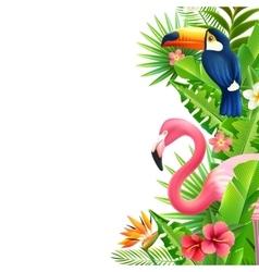 Tropical rainforest flamingo vertical colorful vector