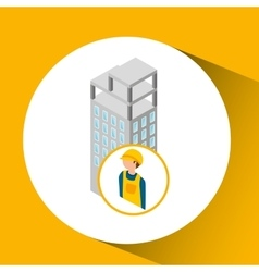Under construction worker with building vector
