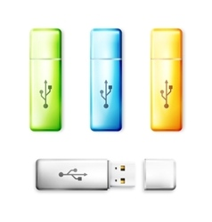 USB flash drive over white background vector image vector image