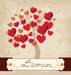 Valentines Day love tree vector image