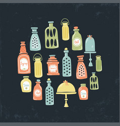 vintage jars circle vector image