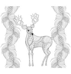 Zentangle reindeer with fir pine branch seamless vector image