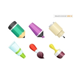 Paint and writing tools collection vector image
