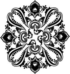 Abstract black floral swirling ornament vector