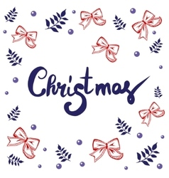 Christmas lettering calligraphy on greeting card vector