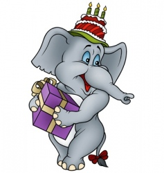 Elephant and gift vector