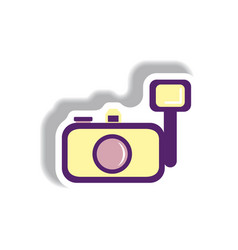 in paper sticker style camera vector image